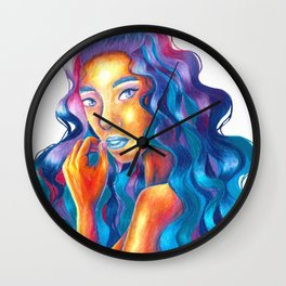 Galaxy Hair Girl Wall Clock