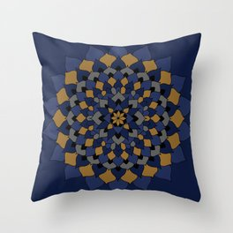 Blue & Bronze Floral Mandala Throw Pillow