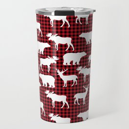 Plaid camping animals minimal bear moose deer nursery decor gender neutral woodland Travel Mug