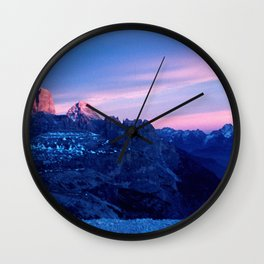 Romantic Sunset in the Snowy Mountains #2 #art #society6 Wall Clock