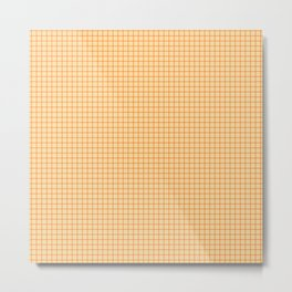 Orange small grid pattern Metal Print