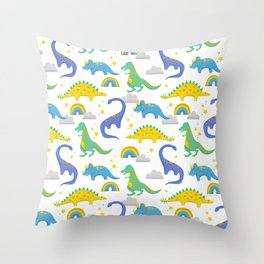 Dinosaurs + Rainbows Throw Pillow
