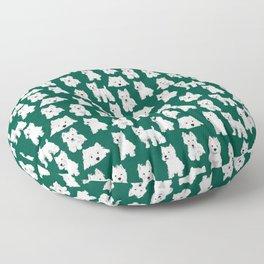 Westies on Green Floor Pillow