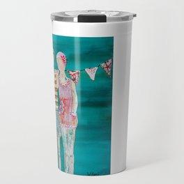 Swimmer art, beach painting, couple art, teal and pink art Travel Mug