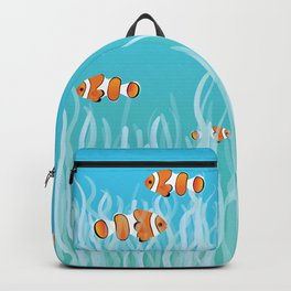 Two clown fishes swimming between sea anemones Backpack