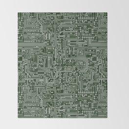 Circuit Board // Green & Silver Throw Blanket