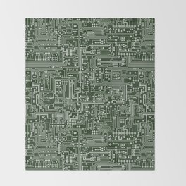 Circuit Board // Green & Silver Throw Blanket
