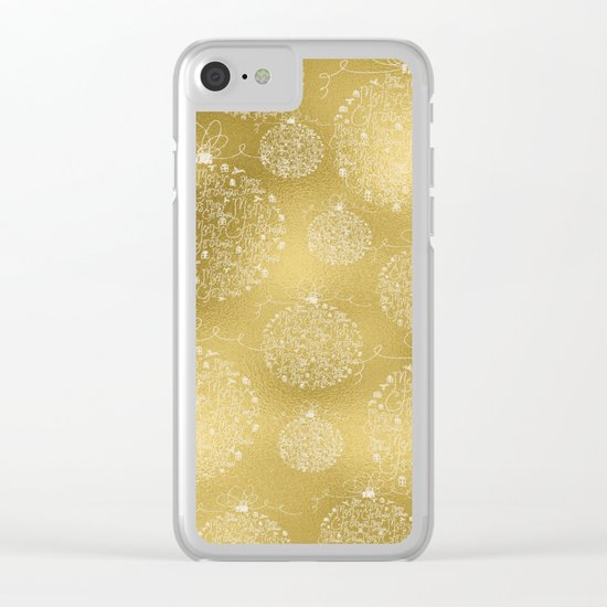 Merry christmas- christmas balls on gold pattern Clear iPhone Case