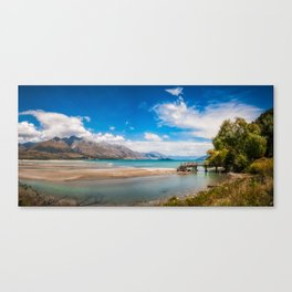 Unspoiled alpine scenery at Kinloch Wharf, New Zealand Canvas Print