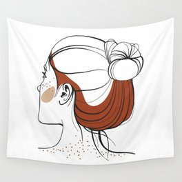 Red-haired woman with freckles. View from the back. Abstract face. Fashion illustration Wall Tapestry