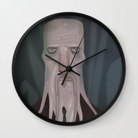 cthulhu Wall Clocks featuring cthulhu by Crooked Octopus