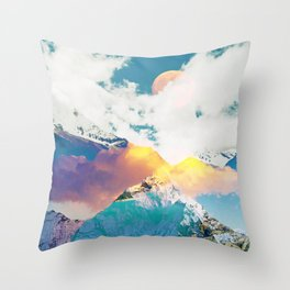Dreaming Mountains, Colorful Photography Digital Collage, Nature Scenic Travel Moon Landscape Throw Pillow