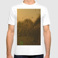 Delicate Grasses and Dew MEDIUM White Mens Fitted Tee