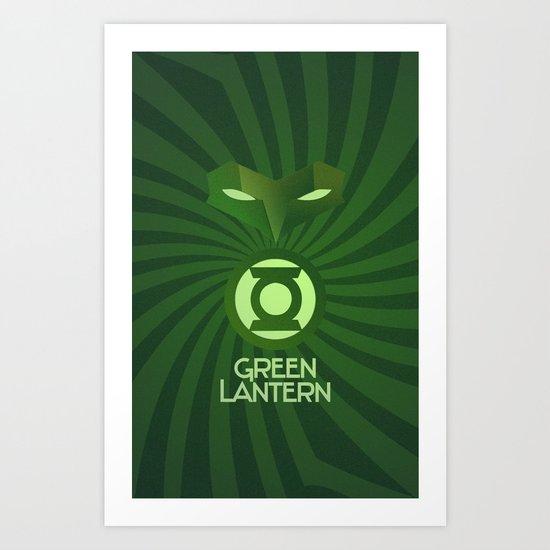 Green Lantern Art Deco Art Print