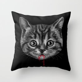 Black Pussy Cat Throw Pillow