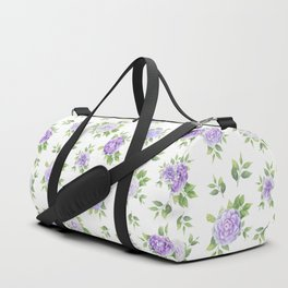 Hand painted lavender violet green watercolor floral Duffle Bag