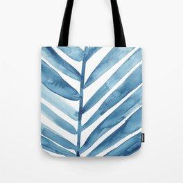 Blue Palm Leaf Crop Tote Bag