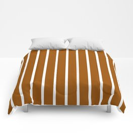 Vertical Lines (White/Brown) Comforters