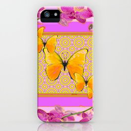 Golden Butterflies Purple-Pink Orchids Art iPhone Case