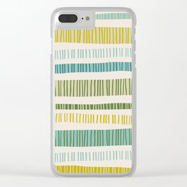 Lime Stripes Clear iPhone Case