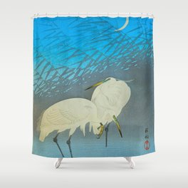 Ohara Shoson Egrets Japanese Woodblock Print Vintage Historical Japanese Art Shower Curtain