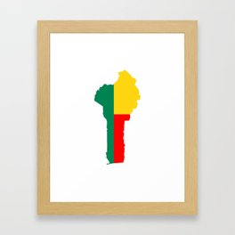 benin flag map Framed Art Print