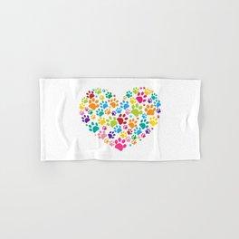 Dog paw print made of heart colorful Hand & Bath Towel
