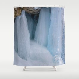 The Grotto Ice cave in Maligne Canyon Shower Curtain