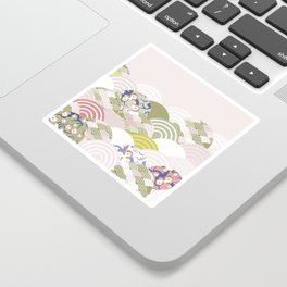 scales simple Nature background with japanese sakura flower, rosy pink Cherry, wave circle pattern Sticker