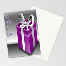 A Purple Wrapped Gift Box To Both Of You Stationery Cards