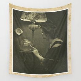 Woman With Fishbowl   Vintage Photography Wall Tapestry
