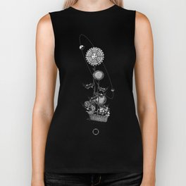 Abstract Techie Art, Thistle flower, Space Rocket, Soviet Sputnik, Vintage robot illustration Biker Tank
