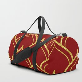 Gold and dark-red Islamic motive pattern Duffle Bag