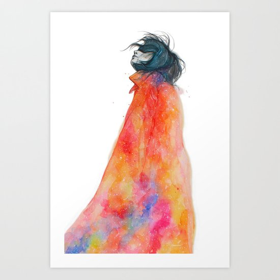 The Girl with the starry mantle Art Print