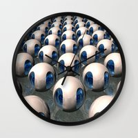 army Wall Clocks featuring Alien Army by Phil Perkins