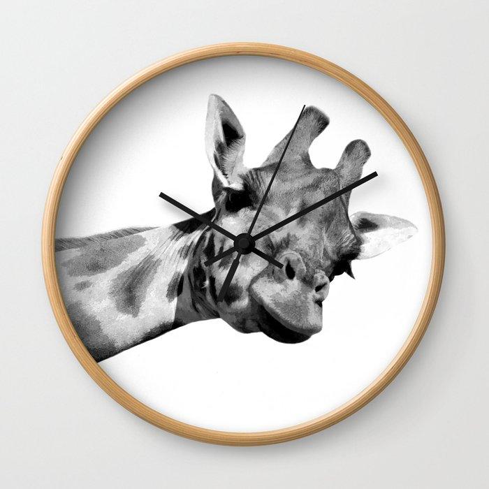 Black and white giraffe Wall Clock