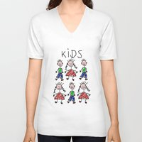kids V-neck T-shirts featuring Kids by Digital-Art