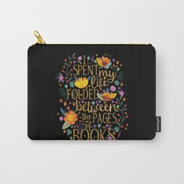 Folded Between the Pages of Books - Floral Black Carry-All Pouch