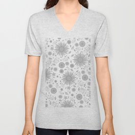 Beautiful Flowers in Faded Gray Black and White Vintage Floral Design Unisex V-Neck