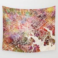 baltimore Wall Tapestries featuring Baltimore map by MapMapMaps.Watercolors