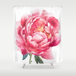 Watercolor Peony Shower Curtain