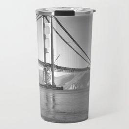 Construction of the Golden Gate Bridge, 1935, San Francisco Bay black and white photograph Travel Mug