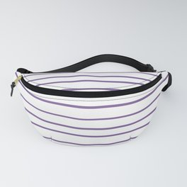 Pantone Chive Blossom Purple 18-3634 Hand Drawn Horizontal Lines on White Fanny Pack