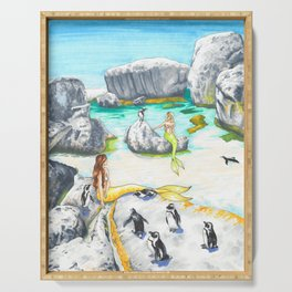 Boulders Beach Penguins and Mermaids Serving Tray