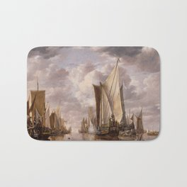 Shipping in a Calm at Flushing with a States General Yacht Firing a Salute 1649 Bath Mat