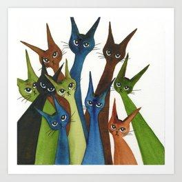 Cordoba Whimsical Cats Art Print