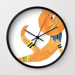 Yoga cat Urdha Mukha Svanasana Wall Clock