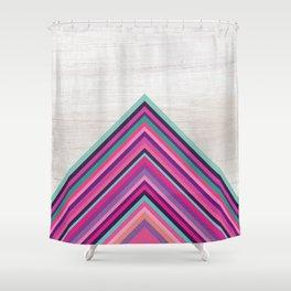 Wood and Bright Stripes, Chevron - Geometric Design Shower Curtain