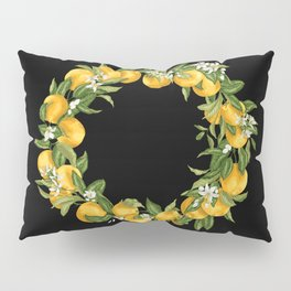 Citrus Orange Wreath with flowers Pillow Sham