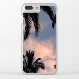 palms and pink clouds Clear iPhone Case